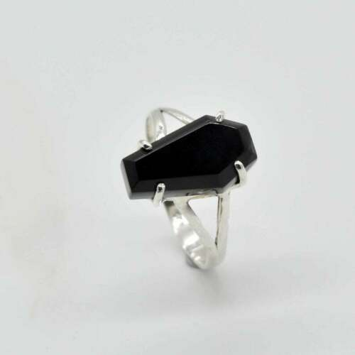 Coffin Stone Ring 925 Silver Solid Sterling Women Black Onyx Gift Jewelry Rings