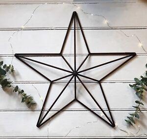 25cm Rusty White Metal Star Outline Iron Garden Hanging Mini Xmas Decoration