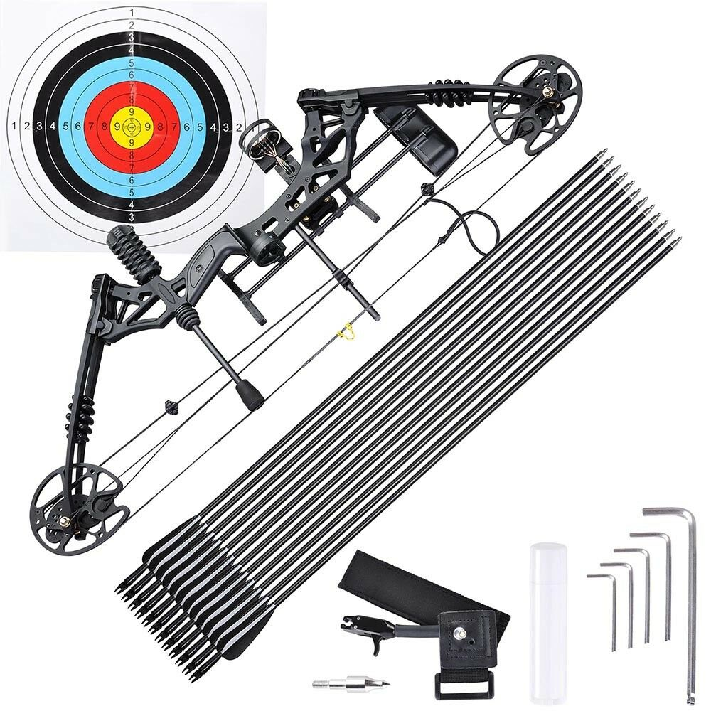 20-70lbs Pro Compound Right Hand Bow Kit Arrow Archery Target Practice Hunting