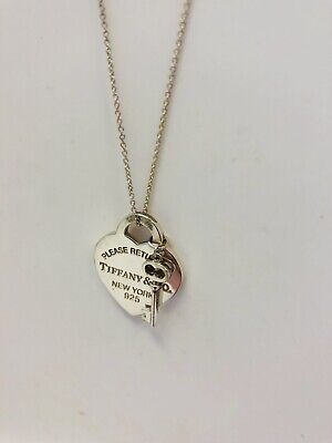 Tiffany Co Sterling Silver Return Heart Tag Key Pendant Necklace Mint In Box Ebay