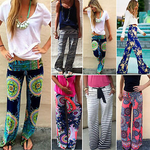 New-Women-Baggy-Harem-Pants-Hippie-Wide-Leg-Gypsy-Yoga-Boho-Long-Palazzo-Trouser