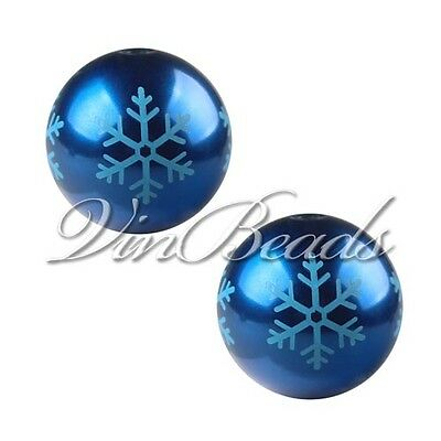 10pcs 20mm Royal Blue Christmas Snowflake Chunky Bubblegum Solid Beads Necklace