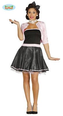 50er Anni Rock N Roll Vestito Donna Con Punti In Nero-bianco Rocke Billy Rimozione Dell'Ostruzione