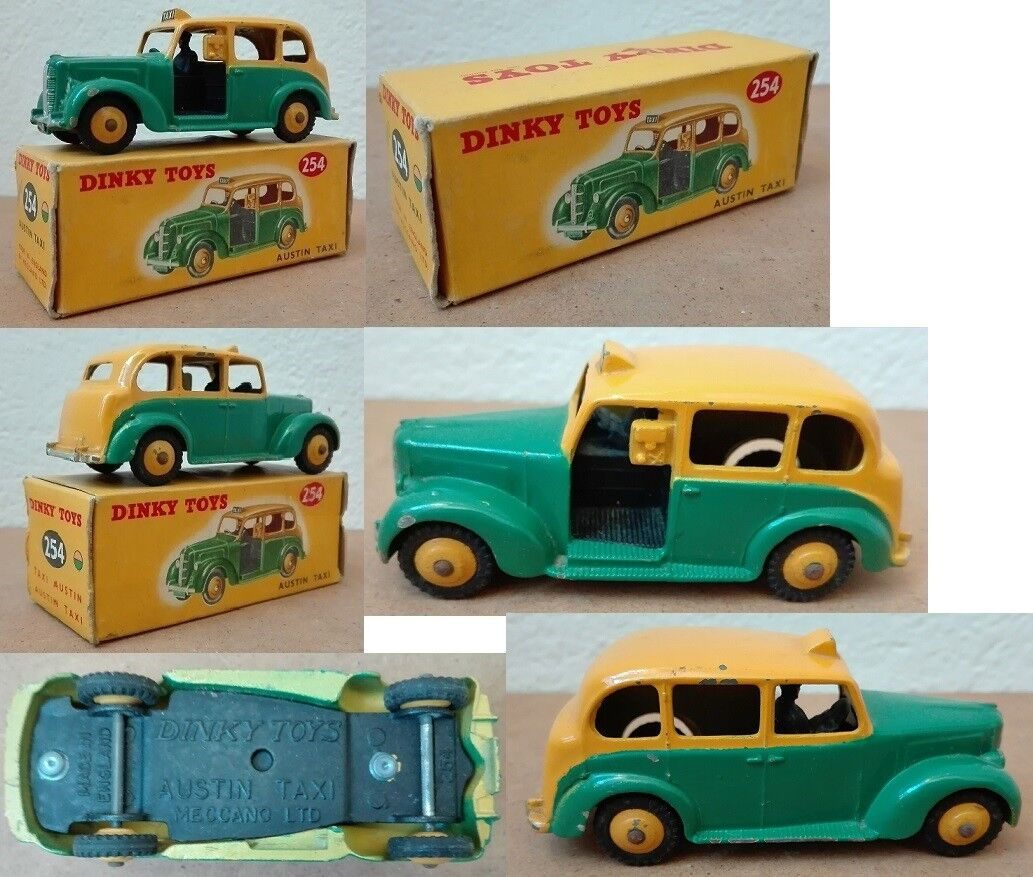 Dinky Toys 254 Austin Taxi die cast 1/43 green yellow