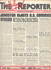 """'47 RARE 'HOLLYWOOD REPORTER' """"JOHNSTON BLASTS U.S.COMMIES"""" 'RED SCARE' ISSUE"""