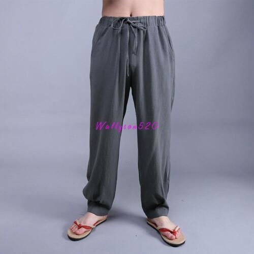 Chinese style Baggy Pants Men/'s Cotton hemp Pants Boho Yoga Casual Trousers