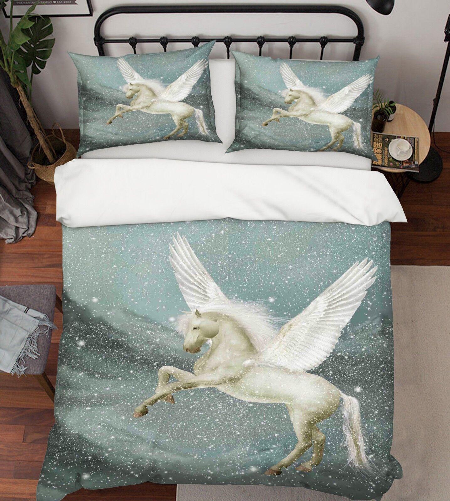 3D Schnee Fliegen Pferd 5 Bett Kissenbezüge steppen Duvet Decken Set Single DE