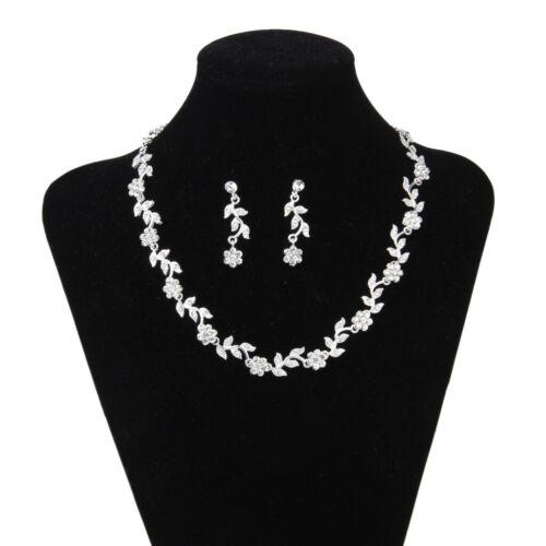 Kristall Blumen Und Blätter Halskette Ohrringe Für Braut Hochzeit Schmuck