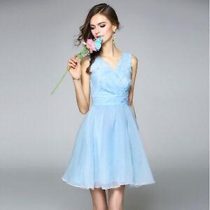 competitive price 764f1 60268 Dettagli su Elegante raffinato vestito abito donna scampantato corto  azzurro leggero 3595