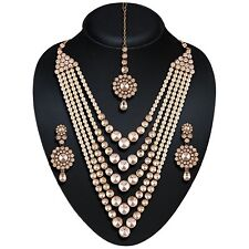 Indian Bollywood Gold Polki, pearl Jewellery set Haar Necklace, Earring, Tikka