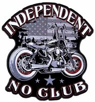 Patriotic Mens Independent No Club Motorcycle American Flag Biker Patch Large