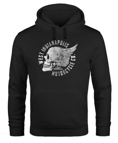 Hoodie Herren Sweatshirt Motorrad Biker Totenkopf Skull Wings Vintage