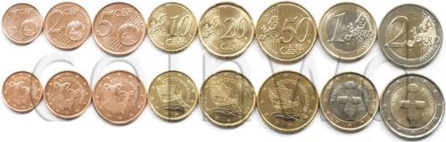 2 EURO UNC #1485 Cyprus 8 coins set 2009 1 C