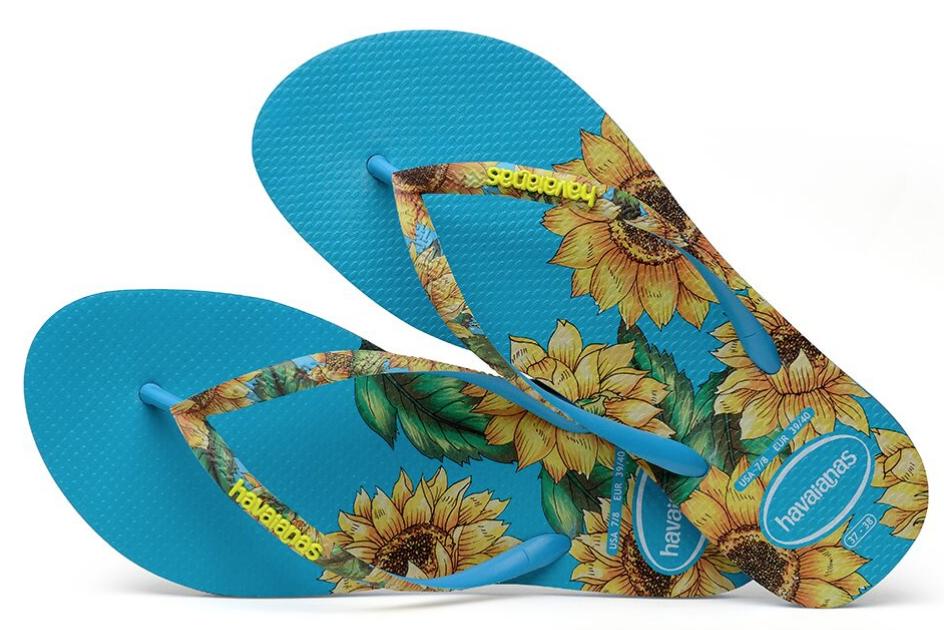 Havaianas Women`s Flip Flops Slim Sensation Sandal Turquoise Floral Sandals NWT