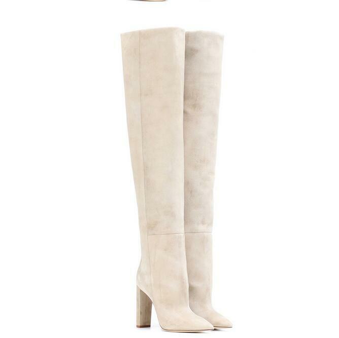 Winter Damenschuhe Overkneestiefel Blockabsatz Slouch Super High Heel Schlupf