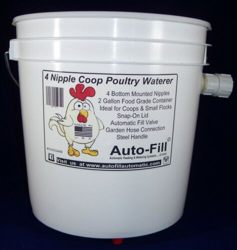 Automatic Hanging Chicken Waterer 4 Nipples 2 Gal Garden Hose Connection 2 Pack