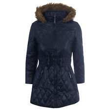 c519b28ffb11 Kids Girls Quilted Puffer Jacket Zip Pocket Long Sleeve Hood Winter ...