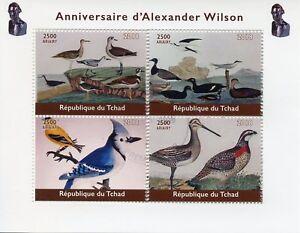 Chad-2018-CTO-Alexander-WILSON-ornitologo-4v-m-s-Natural-History-birds-stamps