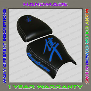 Custom-Black-Blue-White-Trim-Seat-Cover-Suzuki-Hayabusa-99-07-First-Generation