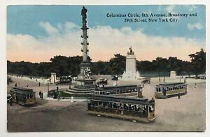 NY-Postcard-New-York-City-Columbus-Circle-8th-Ave-Broadway-59th-trolleys-street