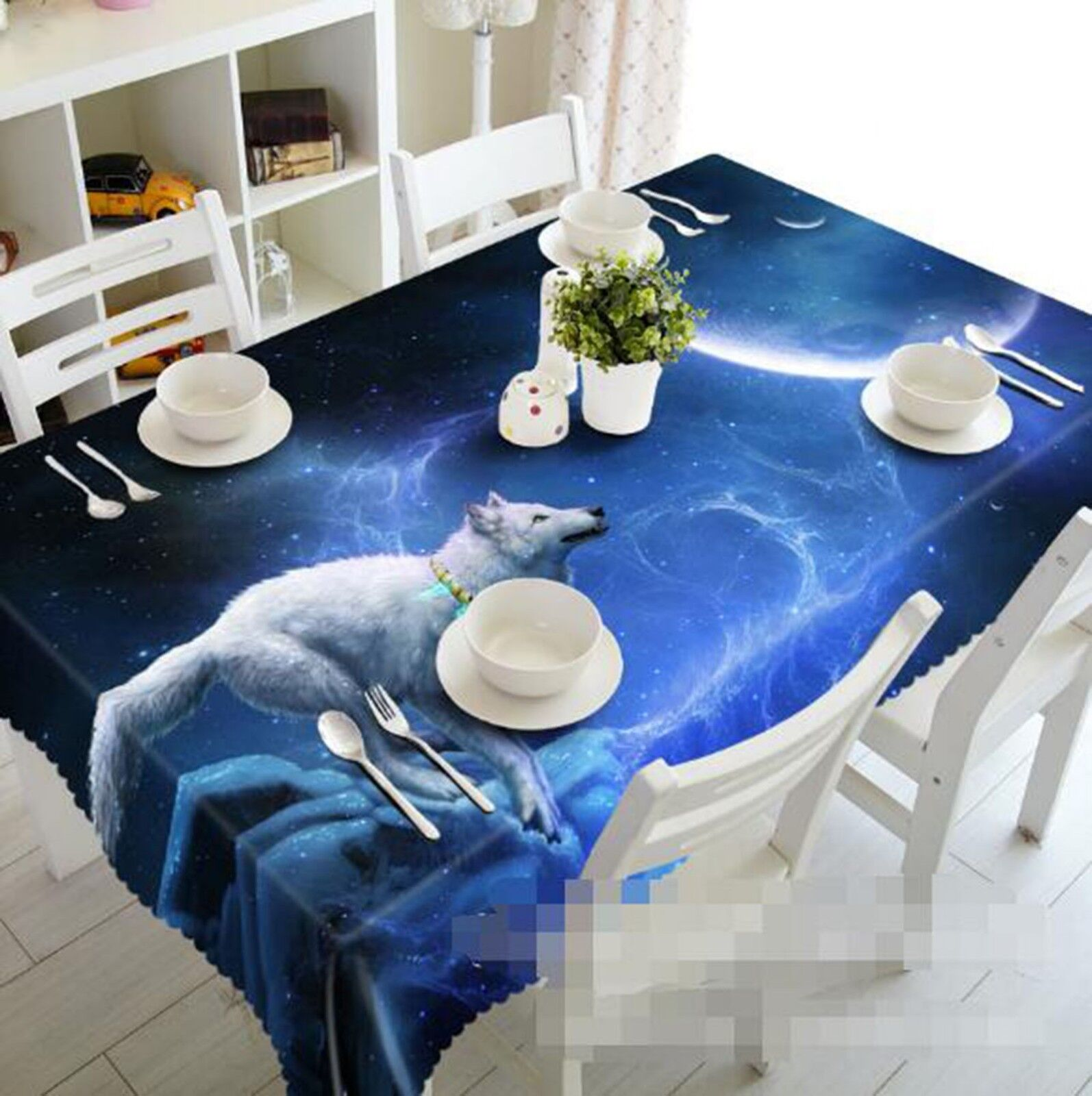 3D blanc Wolf 03 Tablecloth Table Cover Cloth Birthday Party Event AJ Lemon