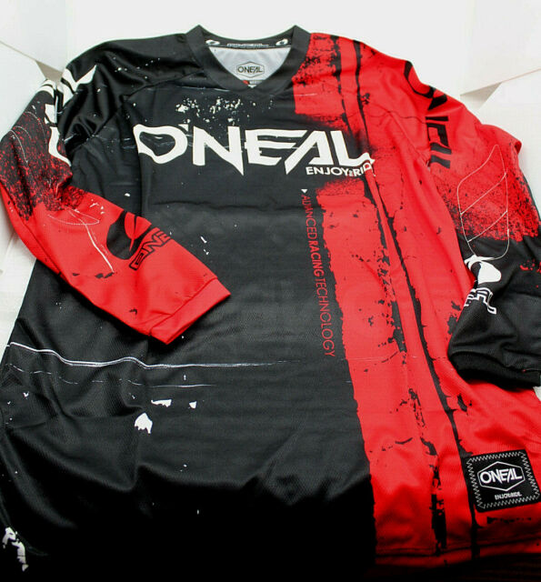 O'Neal Elem Shirt Brandello Jersjers ROSSO Taglia M Uomo Bianco Nero 001e-503