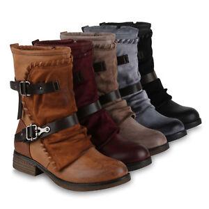 b60449e1f2bcf8 Das Bild wird geladen Damen-Stiefel-Biker-Boots -Used-Look-Modische-Stiefeletten-