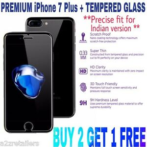 Apple iPhone 7 PLUS  CURVED Tempered Glass Screen Guard Protector FRONT & BACK