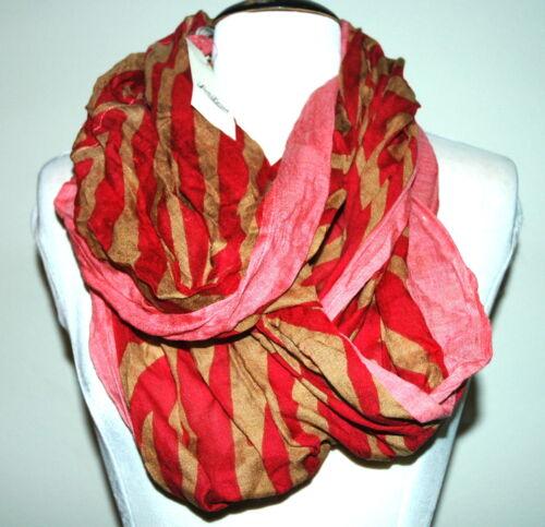 Lucky Brand Women/'s Red and Tan Zebra Stripe Infinity  Scarf