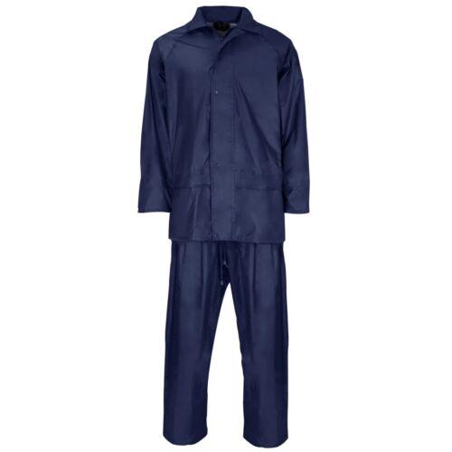 Supertouch Poliestere PVC Pioggia Abbigliamento Pioggia Giacca Pantaloni Set LEGGERO NUOVO
