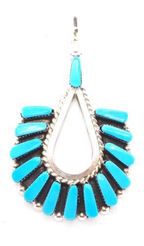 Zuni Handmade Sterling Silver Turquoise Petit Point Pendant Carlene Hattie