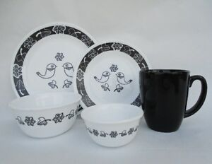 Image is loading 20-pc-Corelle-BIRDS-of-a-FEATHER-DINNERWARE- & 20-pc Corelle BIRDS of a FEATHER DINNERWARE SET Black White ...