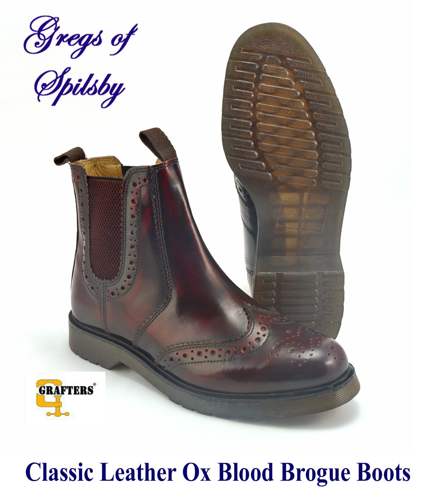 Mens Brogue Boots In Hi-Shine Oxblood Leather With Air Wear Soles Sizes 6 - 14
