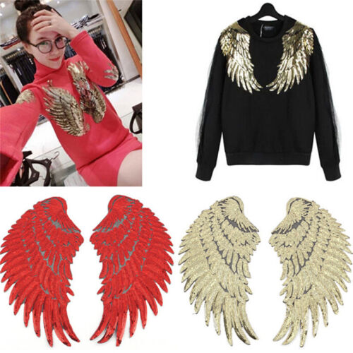 Clothes Wings Design Sequins Motif Applique Embroidered Iron On Patches StickeNJ