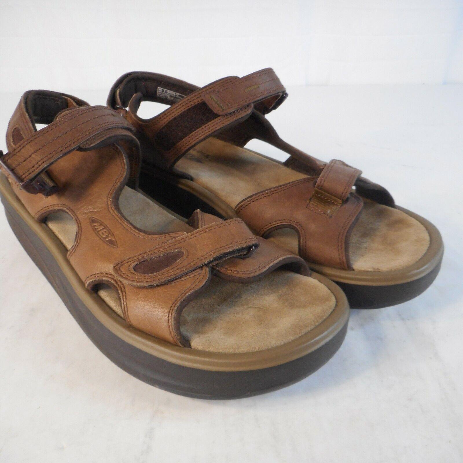 MBT Kisumu Sandals Men's Size 12 Brown Leather Sport Walking Rocker Sling Back