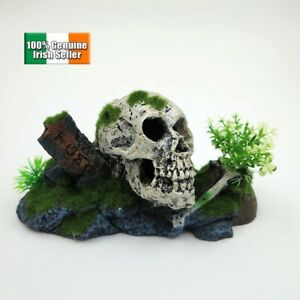 Skull-Tombstone-Grave-Aquarium-Fish-Tank-Ornament-Decoration-18-5CM
