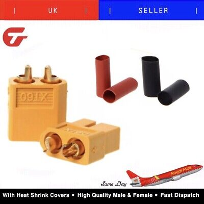 10 Pair XT60 XT-60 Male Female Bullet Connectors Power Plugs With Heat Shrink RC