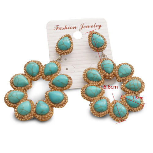 18K Gold Plated Turquoise CZ Crystal Natural Baroque Pearl Drop Dangle Earrings