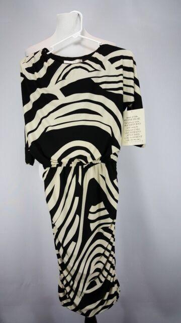 Boston Proper Blurred Lines Side-ruched Dress Knee-length Size 2