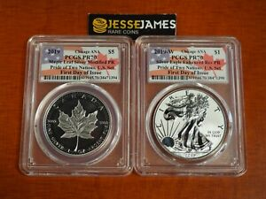 2019-W-SILVER-EAGLE-PCGS-PR70-70-PRIDE-OF-TWO-NATIONS-SET-FIRST-DAY-OF-ISSUE-ANA