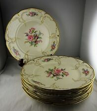 "Six Rosenthal China Diplomat 10"" Dinner Plates Floral, Gold Scroll, Beaded Trim"