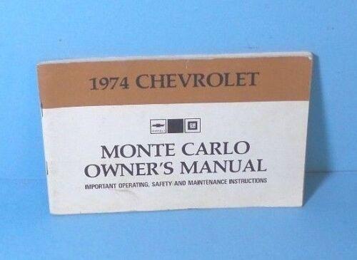 74 1974 Chevrolet Monte Carlo owners manual ORIGINAL