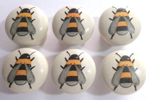 6 x Cute Handpainted /& Decoupaged Bumble Bee 4cm Dia Pine Drawer Knobs