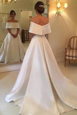 White/Ivory Off Shoulder Satin Wedding Dresses Sweep Train Bridal Gown Plus  Size  eBay