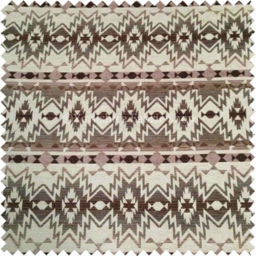Soft Woven Geometric Design Brown Colour Chenille Upholstery Quality New Fabric