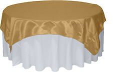 "Bridal Satin Table Overlay 58"" x 58"" Square Tablecloth Cover Wedding Decoration"