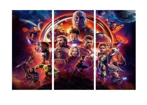 "Marvel Infinity War-Officiel Super Héros Movie 3 Split Toile Photos 20x30/"""