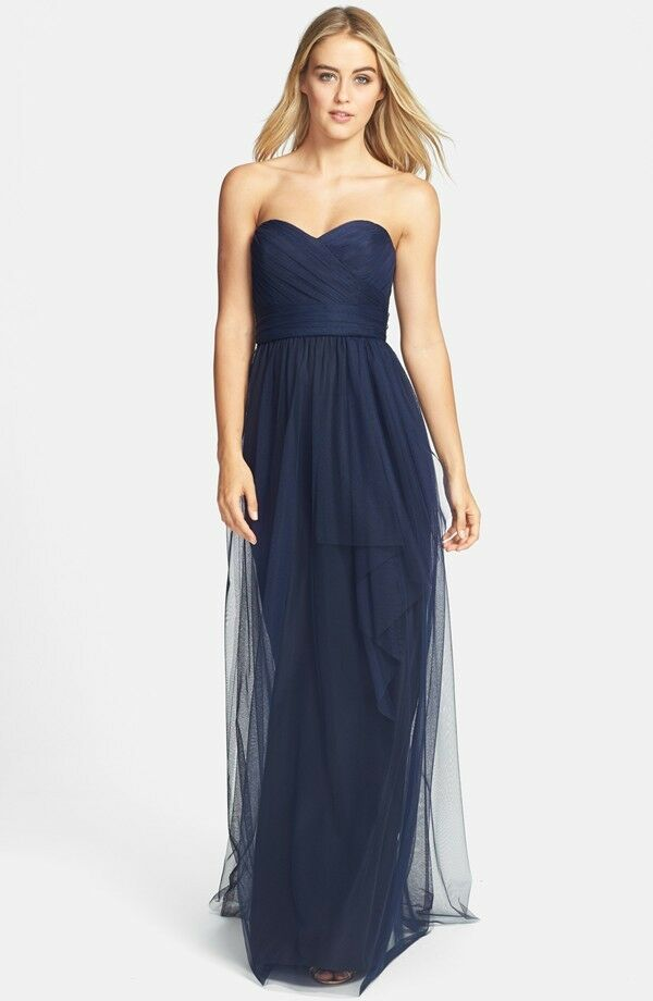 NEW AMSALE Draped Tulle Strapless DRESS GOWN SIZE 2 NAVY BRIDESMAID