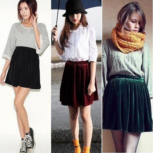 Women Soft High Waist Velvet Pleated A-line Short Elasticsed Skirt OZUS