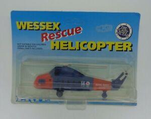 Vintage-Diecast-Ertl-Wessex-helicoptero-de-rescate-1017-Royal-Navy-Blue-Orange-En-Caja